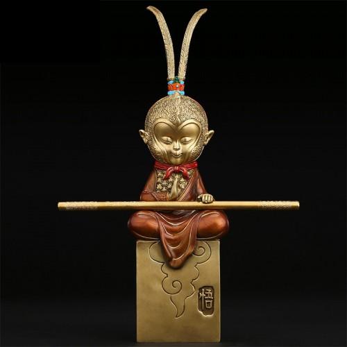 全铜斗战胜佛茶室家居斗战圣悟空中式摆件装饰品