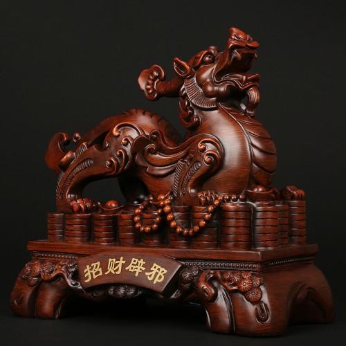 木纹金钱貔貅摆件商务送礼家居绒沙金树脂工艺品