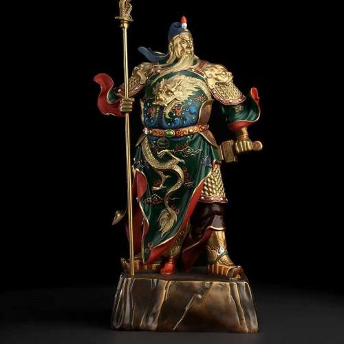 全铜新品彩绘关公开业公司供奉铜关公佛像工艺品